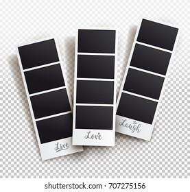 Square frame template with shadows, templates. Vector illustration. Isolated on transparent background.