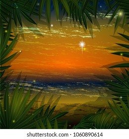 A square frame for text or a photo of palm leaves and evening Hawaiian marine scenery . Postcard with tropical plants. Vector illustration.