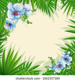 A square frame for text or a photo of palm leaves with blue orchids. Postcard with tropical plants. Vector illustration.