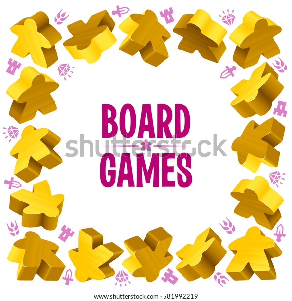 Square frame of yellow meeples for board games. Game pieces and resources counter icons isolated on white background. Vector border for design boardgames advertisement or template of t-shirt print