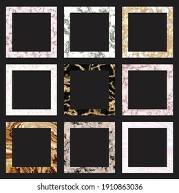 Square Frames With Marble Textures