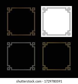 square fretwork vector frames graphics