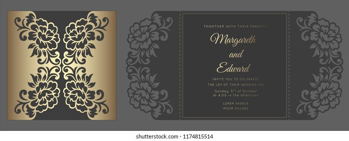 Square gate fold laser cutting wedding invitation card template vector. Design for laser cut or die cut template. Ornamental wedding invite mockup.