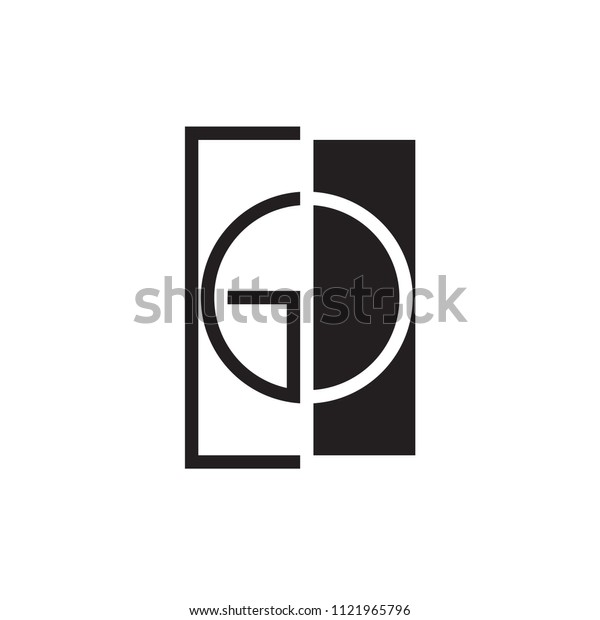 Square with GD letter logo line art design