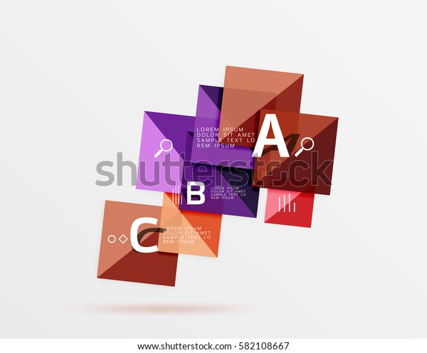 Square geometric abstract background. Vector template background for workflow layout, diagram, number options or web design
