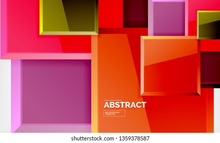 Square geometric background, vector modern template