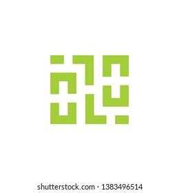 square geometric maze line logo vector