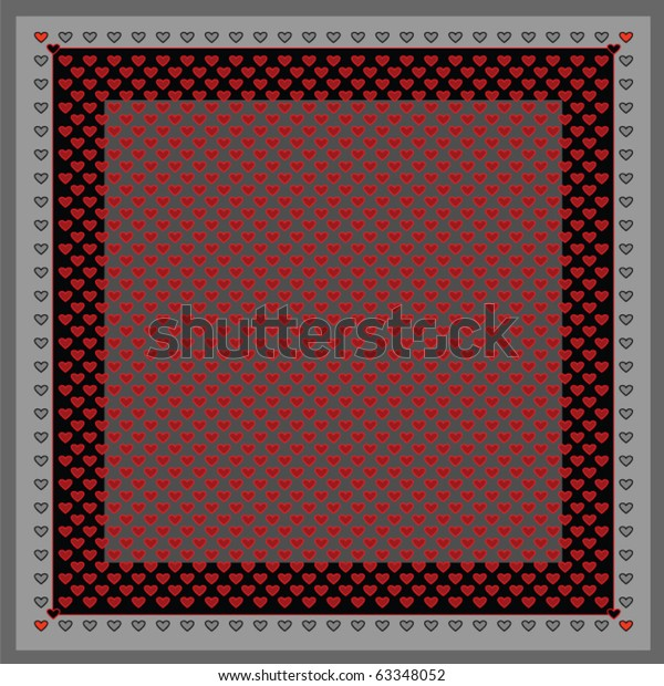 Square geometrical symmetrical hearts pattern for shawl, head scarf or hand-kerchief