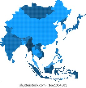 Square Geometry East Asia map.All elements are separated in editable countries.
