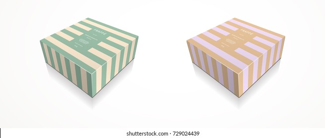 Square gift box packaging 3D illustration template shoe box cake box