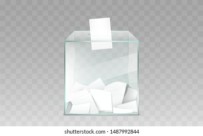 Square glass ballot box filled with blank white ballot paper sheets 3d realistic vector illustration isolated on transparent background. Democratic elections or confidential polling technology element