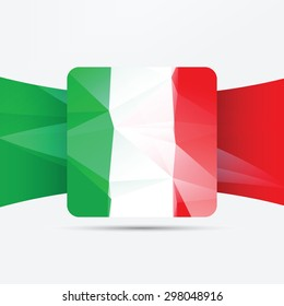 Square glossy icon with national flag of Italy on white background