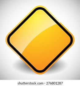 Square glossy road sign in yellow, orange with blank space isolated on white.