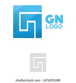 square GN logo design template