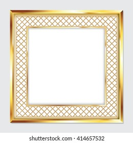 Square gold frame for pictures and images.
