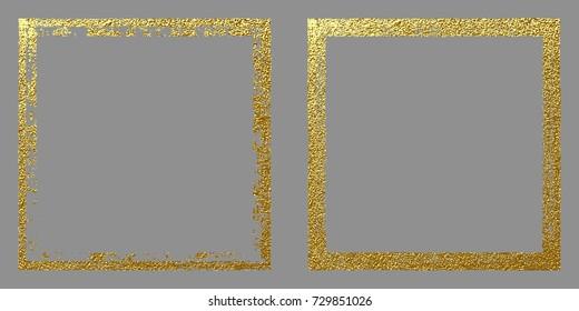 Square golden frame on a grey background. Luxury vintage border, Label, logo design element. Abstract gold vector Illustration.
