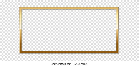 Square golden frame with shadow, isolated on transparent background. Golden border design.
