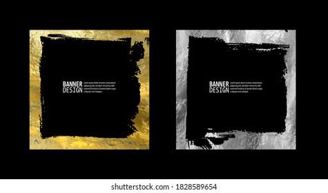 Square golden silver frame set on a black background. Luxury vintage border, Label, logo design element. Hand drawn vector Illustration. Abstract gold silver brush