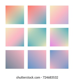 Square gradient set with modern abstract backgrounds. Colorful fluid covers for calendar, brochure, invitation, cards. Trendy soft color. Template with square gradient set for screens and mobile app
