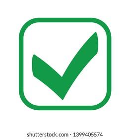 Square green check mark line icon, button, tick symbol on white background