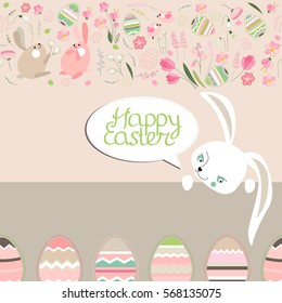 Square greeting card with eggs,rabbit and calligraphy phrase Happy Easter