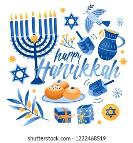 Square greeting card or postcard template with Happy Hanukkah lettering and holiday symbols and attributes - menorah, sufganiyah doughnuts, olive branch, flying dove, dreidels. Vector illustration.