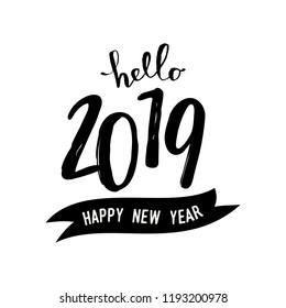 Square greeting card template with typographic design for 2019 in black isolated on white background. Modern and stylish postcard, social media post, blogging, poster design.