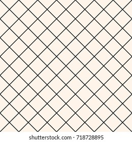 Square grid vector seamless pattern. Abstract geometric monochrome texture with thin diagonal cross lines, rhombuses, mesh, lattice, grill. Simple subtle checkered background. Modern repeat design