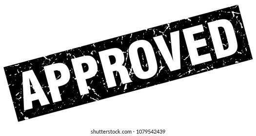 square grunge black approved stamp