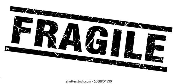 square grunge black fragile stamp