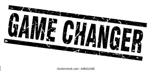 square grunge black game changer stamp