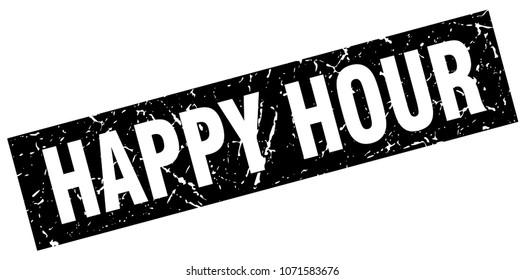 square grunge black happy hour stamp