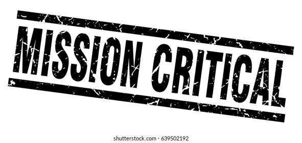 square grunge black mission critical stamp