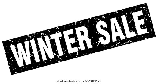 square grunge black winter sale stamp