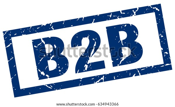 square grunge blue b2b stamp