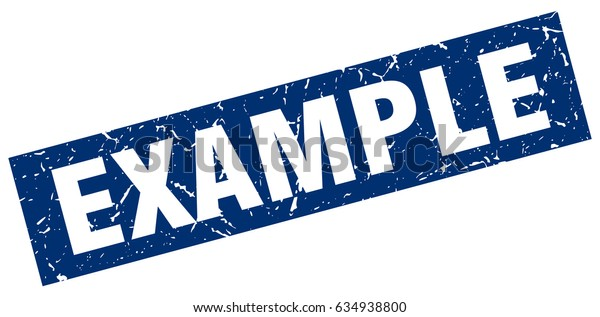 square grunge blue example stamp