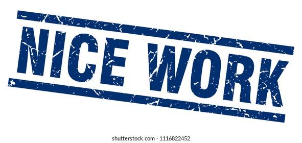 square grunge blue nice work stamp