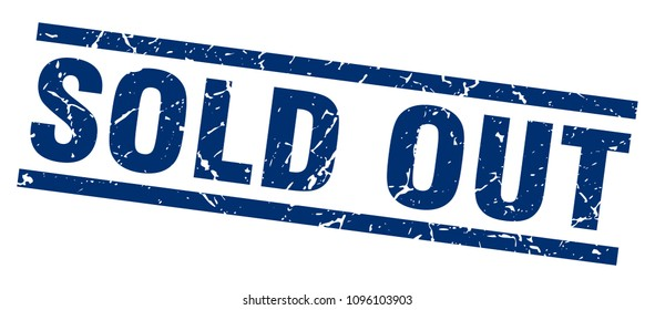 square grunge blue sold out stamp