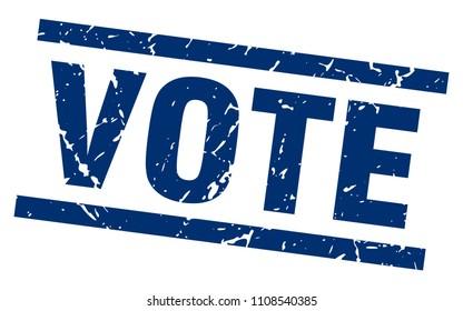 square grunge blue vote stamp