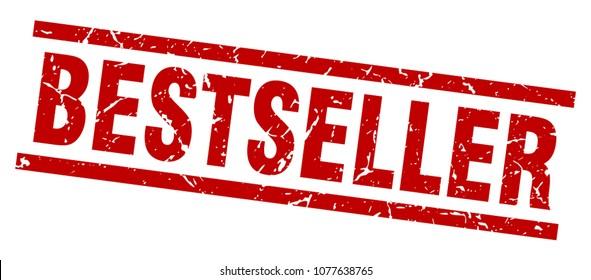 square grunge red bestseller stamp