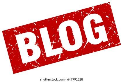 square grunge red blog stamp