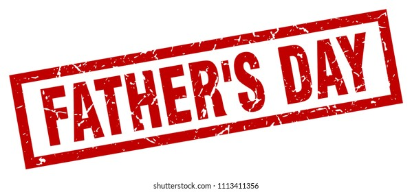 square grunge red father's day stamp