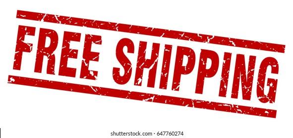 square grunge red free shipping stamp