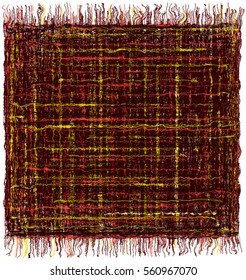 Square grunge striped colorful tapestry with fringe isolated on white