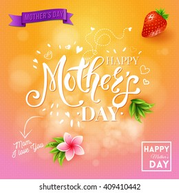 Square happy a day mom I love you design with strawberry, flying hearts, banner and plants over orange and pink background