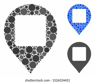 Square hole map marker composition for square hole map marker icon of circle elements in variable sizes and color hues. Vector circle elements are combined into blue illustration.
