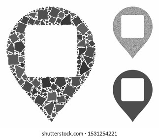 Square hole map marker composition of raggy pieces in different sizes and color tints, based on square hole map marker icon. Vector unequal pieces are composed into composition.