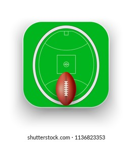Square icon of Australian rules football sport. Sporting field and ball. Square format. Vector Illustration isolated on background.