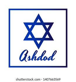 Square Icon of blue David star with inscription of city name: Ashdod in modern style. Israel symbol with frame. Vector EPS10 illustration.