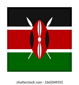 square icon, flag of kenya, isolated on white background